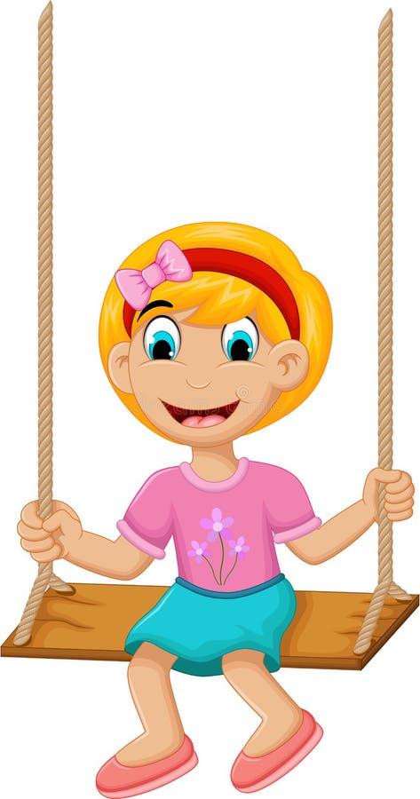 Śmieszna małej dziewczynki kursowania huśtawka royalty ilustracja