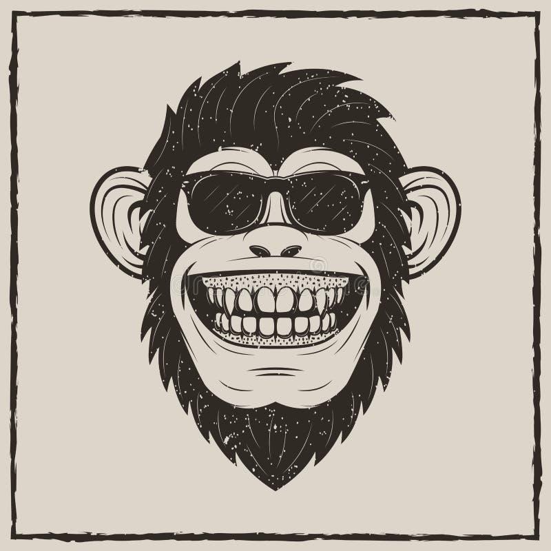 Śmieszna małpa w okulary przeciwsłoneczni grunge koszulki druku wektorowym projekcie ilustracji