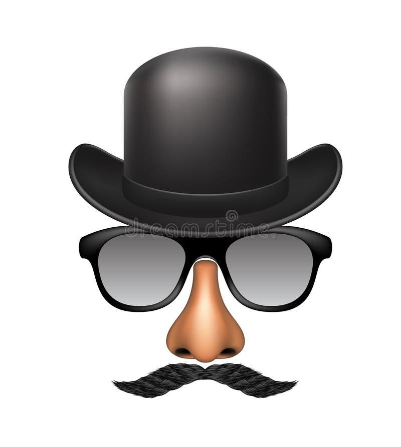 Śmieszna maska robić szkła, wąsy, nos i kapelusz, ilustracja wektor