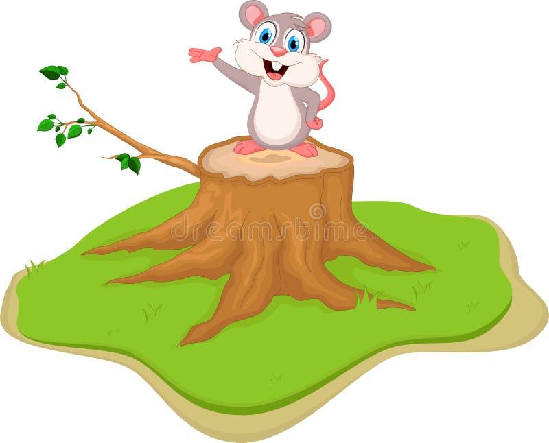Śmieszna myszy kreskówka na drzewnym fiszorku ilustracja wektor