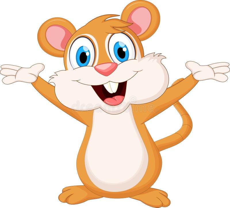 Śmieszna myszy kreskówki falowania ręka ilustracja wektor
