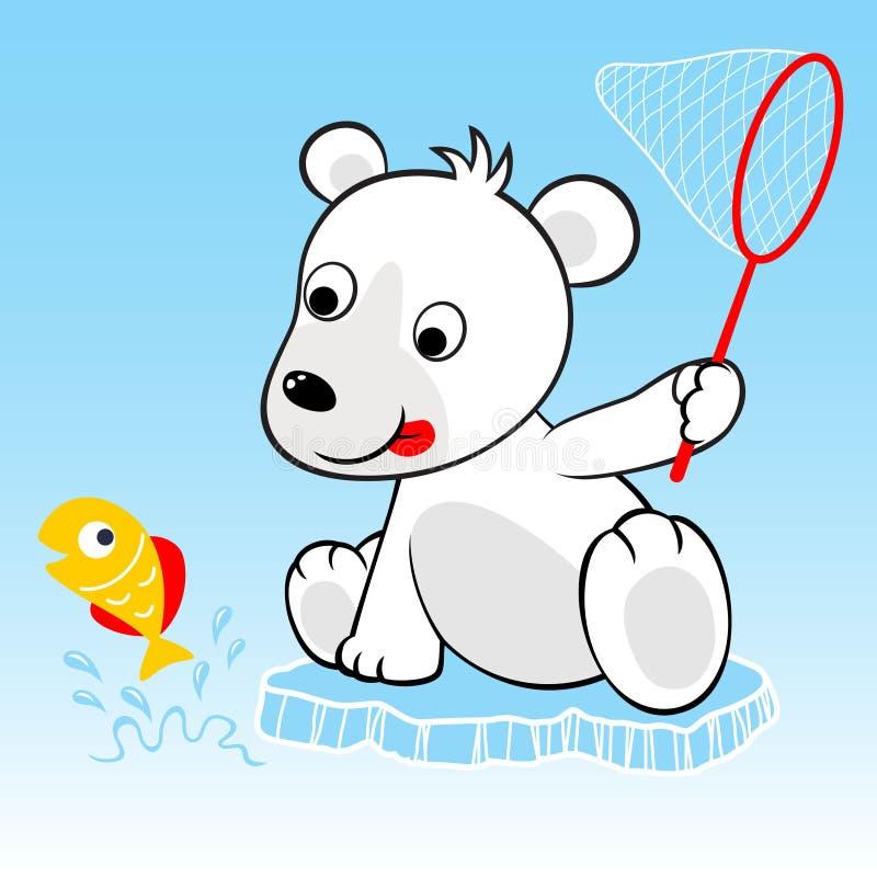 Śmieszna niedźwiedź polarny kreskówki próba łapać ryby ilustracja wektor