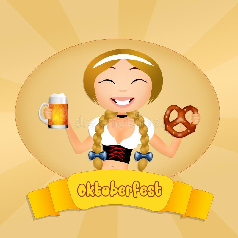 Śmieszna Oktoberfest dziewczyna ilustracja wektor