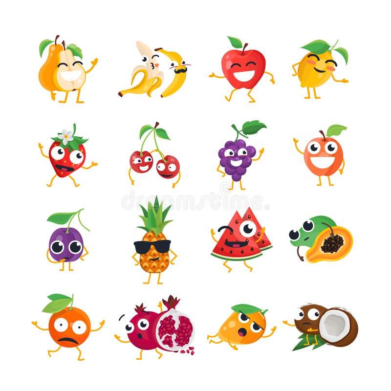 Śmieszna owoc - wektor kreskówki odosobneni emoticons ilustracja wektor