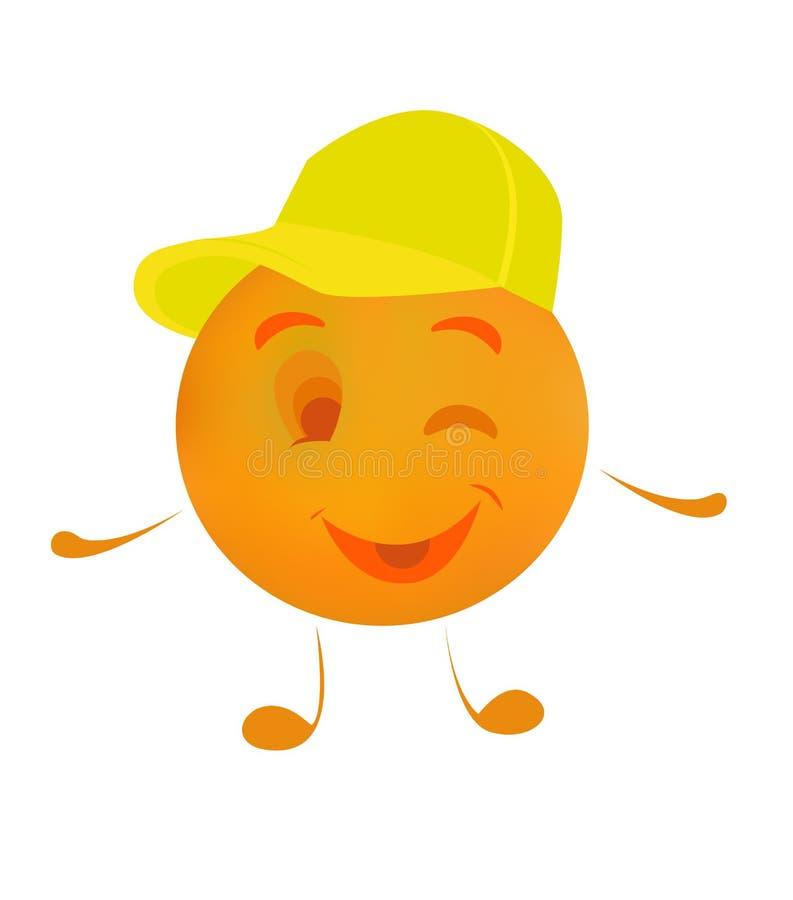 Śmieszna owocowa charakter pomarańcze w nakrętce, wektorowa ilustracja royalty ilustracja