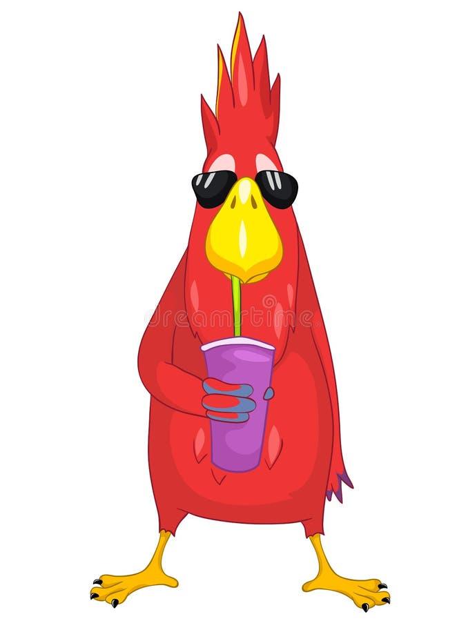 Śmieszna papuga. Koktajl. ilustracji