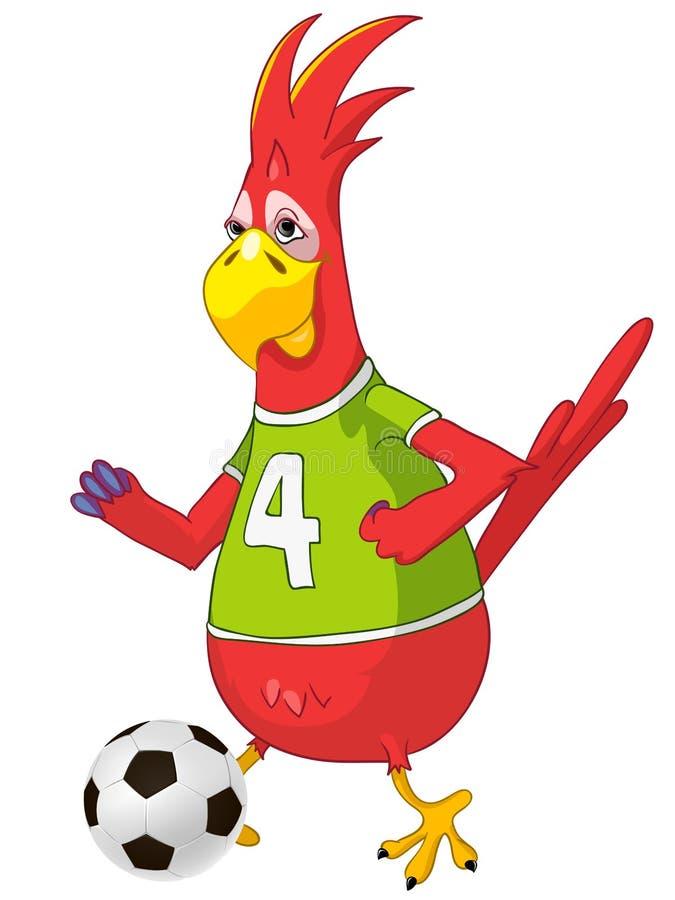 śmieszna papuzia piłka nożna ilustracji