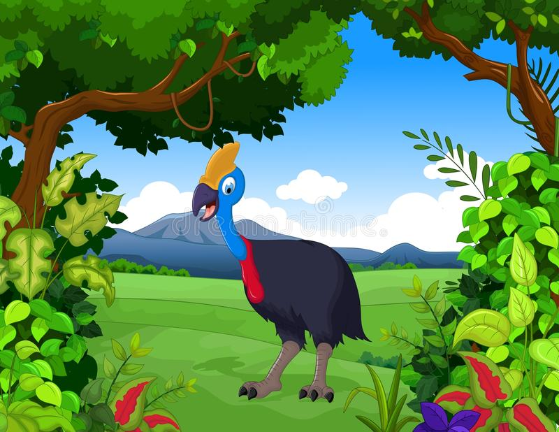 Śmieszna pawia kreskówka z lasu krajobrazu tłem ilustracji