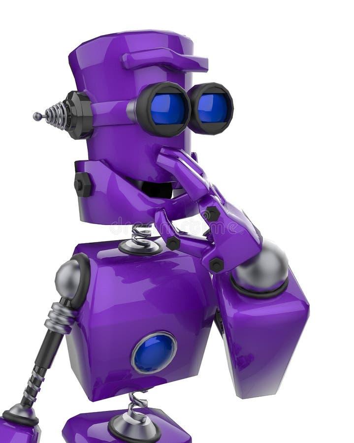 Śmieszna purpurowa robot kreskówka myśleć wokoło w białym tle zamkniętym w górę royalty ilustracja