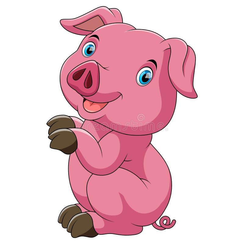 Śmieszna różowa świnia i pozycja z białym tłem royalty ilustracja