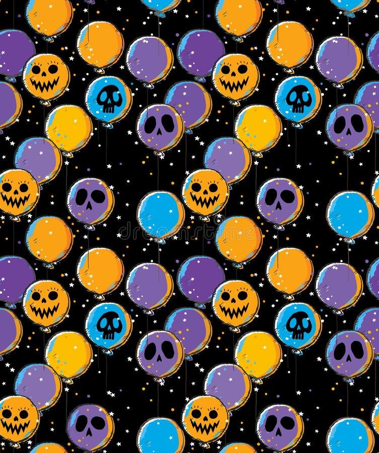 Śmieszna ręka Rysujący Halloweenowy wektoru wzór z Straszną pomarańcze, fiołkiem i Błękitnymi balonami duch twarz, ilustracji