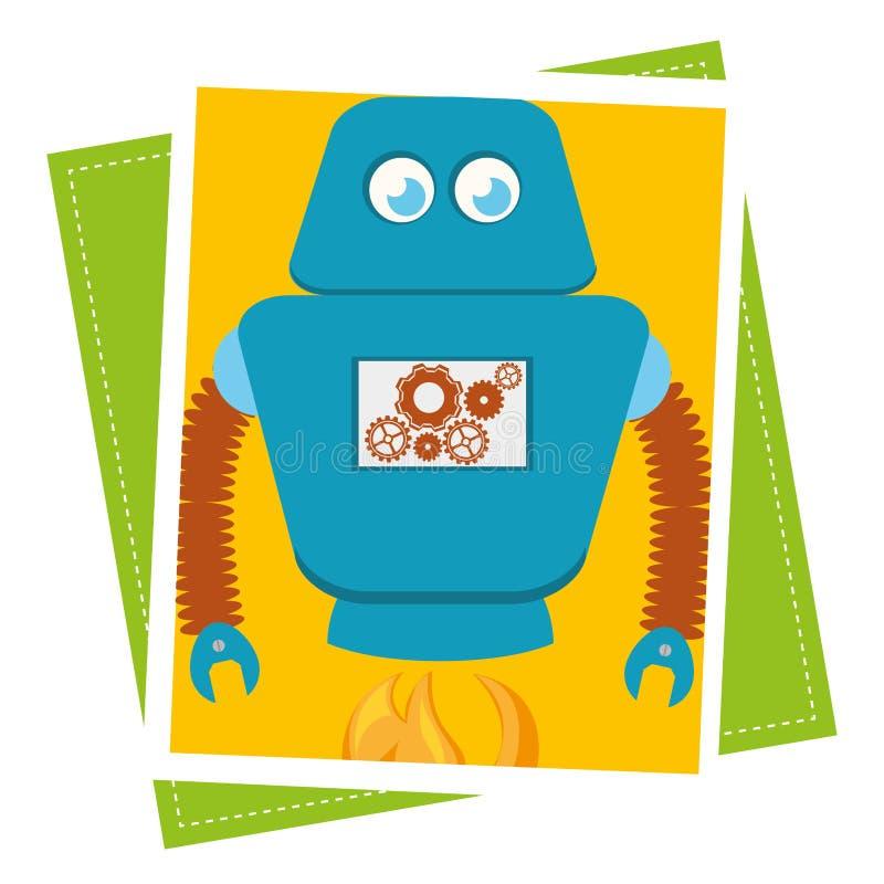Śmieszna robot kreskówka ilustracja wektor