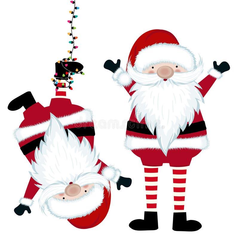 Śmieszna Santa kolekcja odizolowywająca na białym tle ilustracja wektor