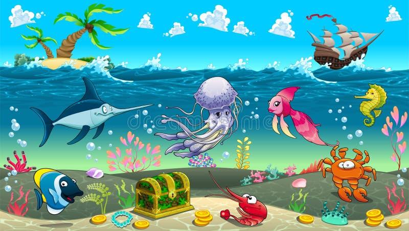 Śmieszna scena pod morzem ilustracji