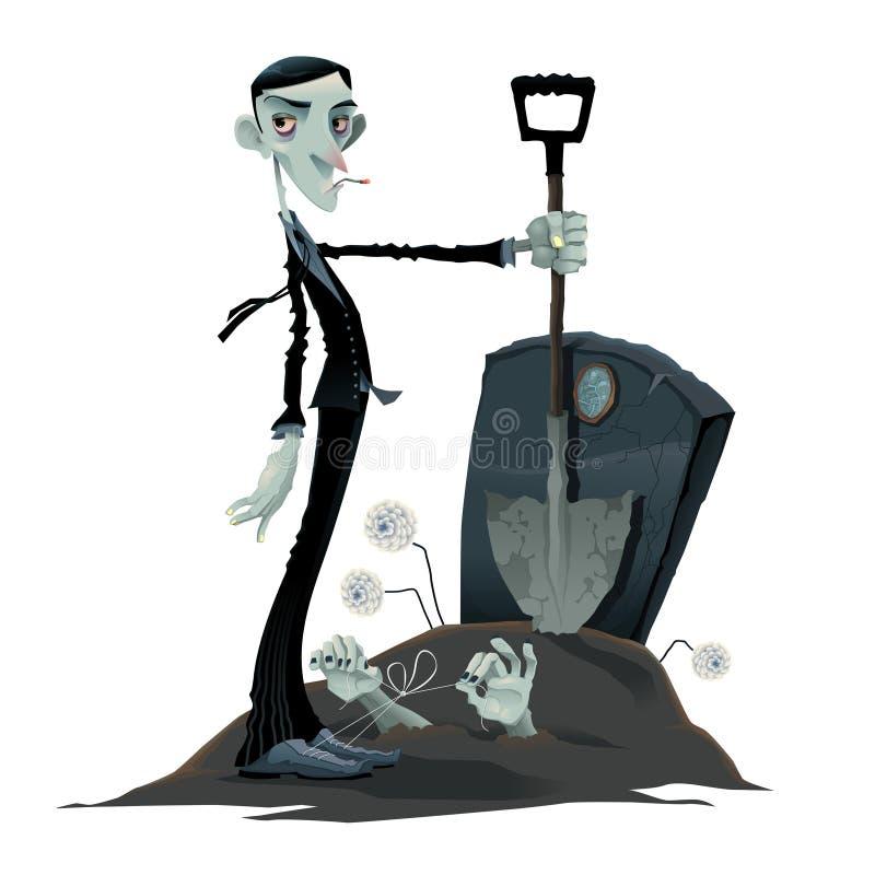 Śmieszna scena w cmentarzu. ilustracji
