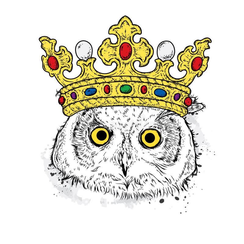 Śmieszna sowa w pięknej złotej koronie ptak Wektorowa ilustracja dla pocztówki lub plakata, druk na odziewa ilustracji