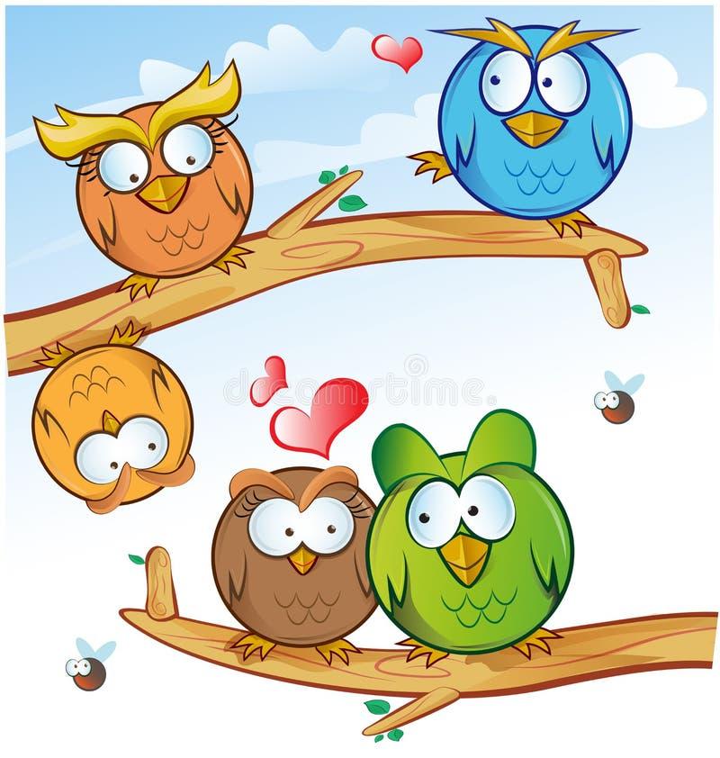 Śmieszna sowy grupa ilustracji