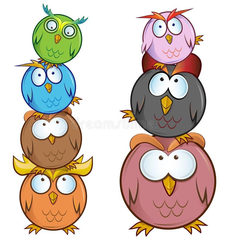 Śmieszna sowy kreskówki grupa royalty ilustracja