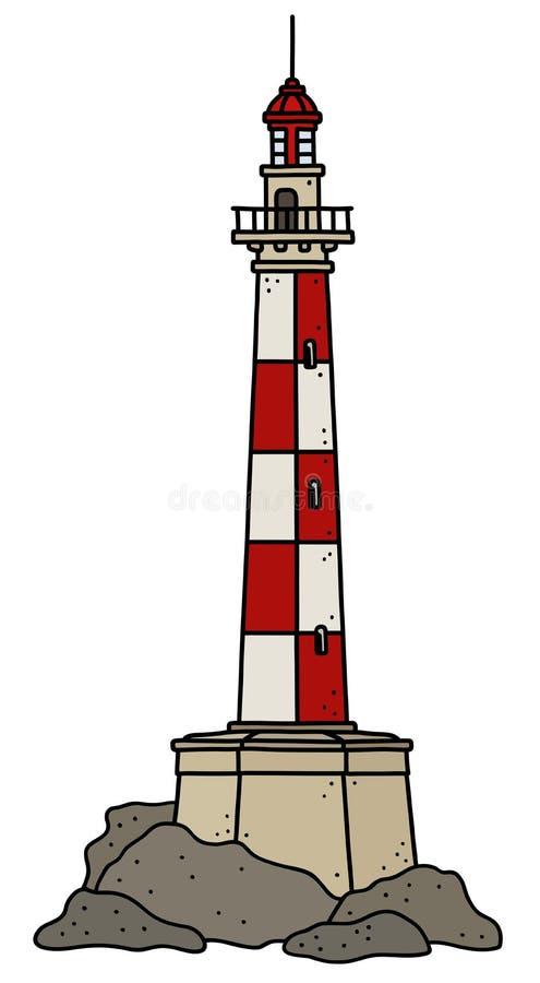 Śmieszna stara czerwieni i bielu kamienna latarnia morska ilustracji