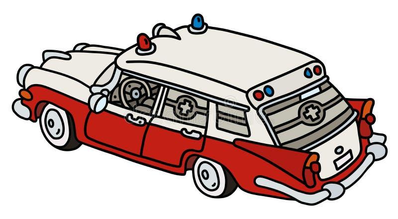 Śmieszna stara czerwieni i bielu karetka ilustracji
