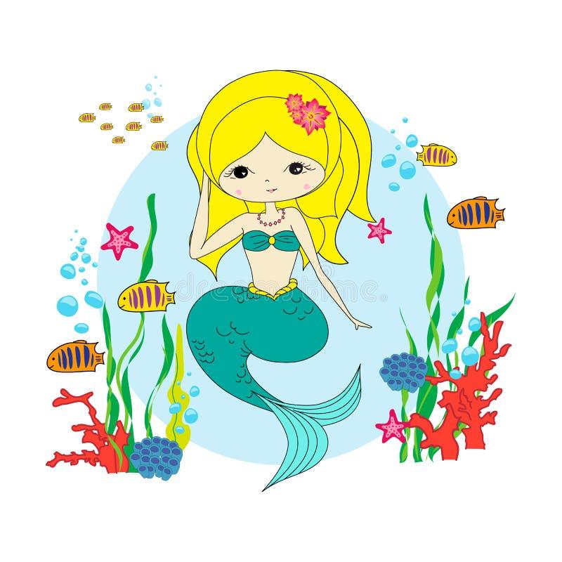 Śmieszna syrenka z ryba obrazy royalty free