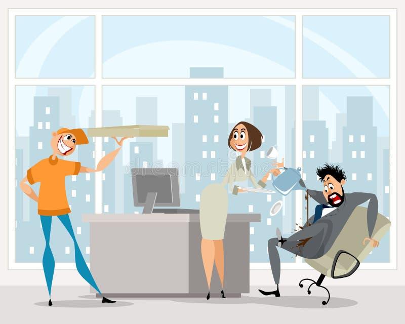 Śmieszna sytuacja w biurze ilustracji