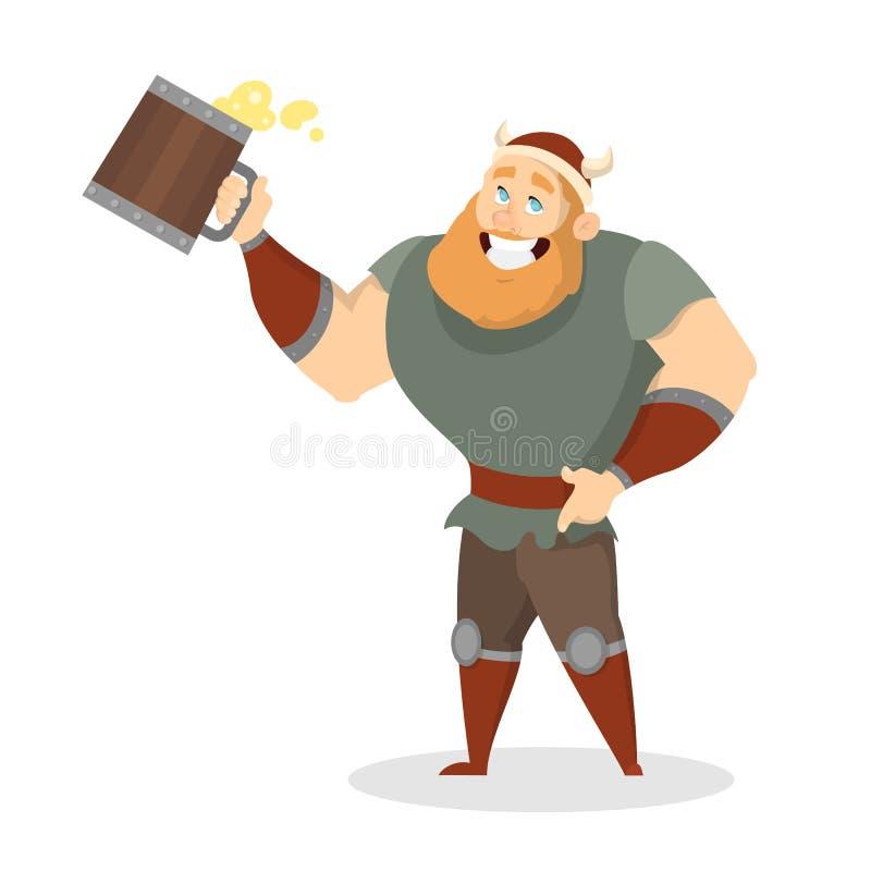 Śmieszna szczęśliwa Viking pozycja z dużym kubkiem piwo pełno ilustracji