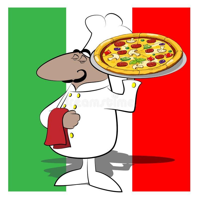 Śmieszna szefa kuchni kucharza pizza royalty ilustracja