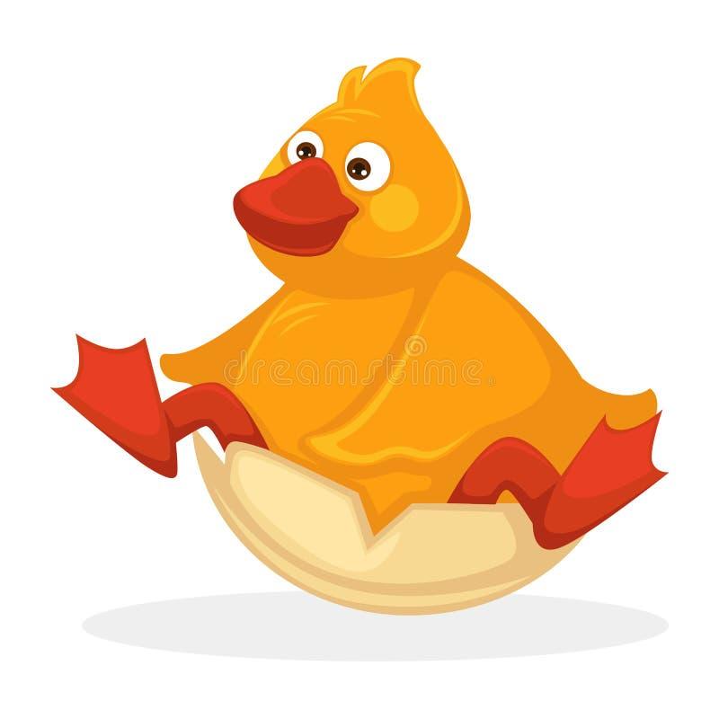 Śmieszna tłuściuchna dziecko kaczka z czerwonym belfrem i nogami ilustracji