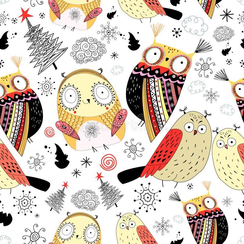 Śmieszna tekstury sowa royalty ilustracja
