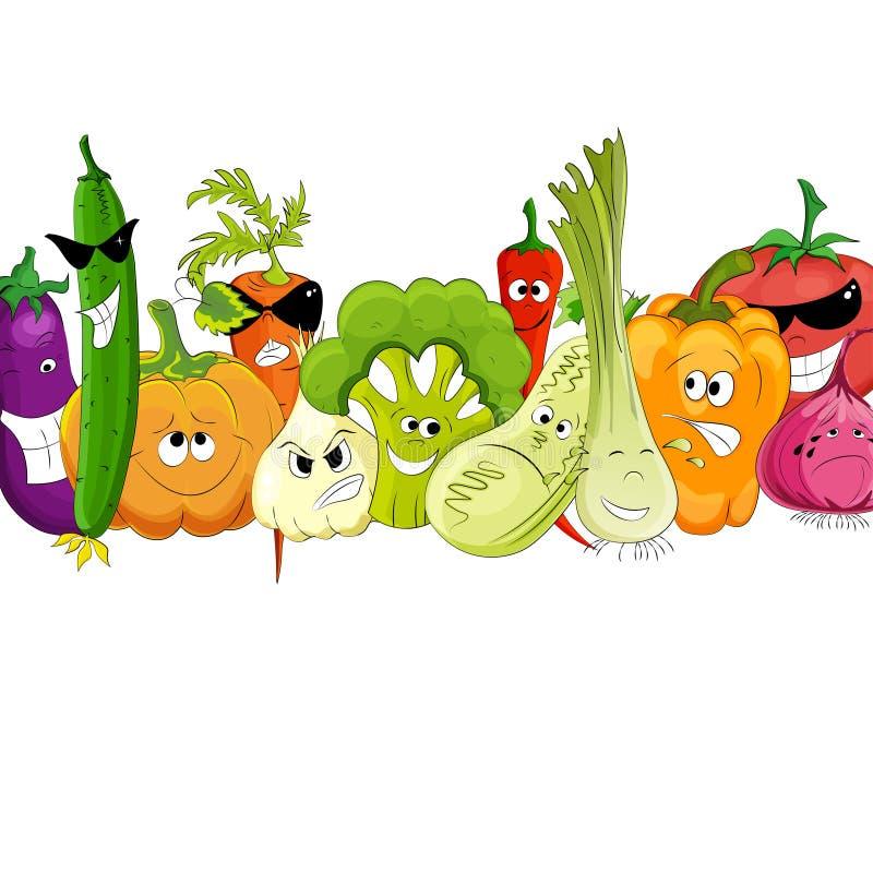 Śmieszna warzywa i pikantności kreskówka na bielu ilustracja wektor