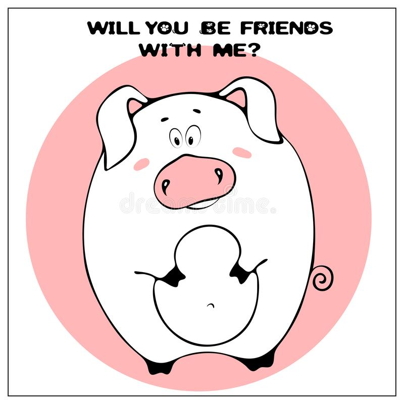 Śmieszna wektorowa kartka z pozdrowieniami z śliczną grubą kreskówki świnią, zwrotem i Poj?cie zabawa projekt dla odziewa? i wn?t ilustracja wektor