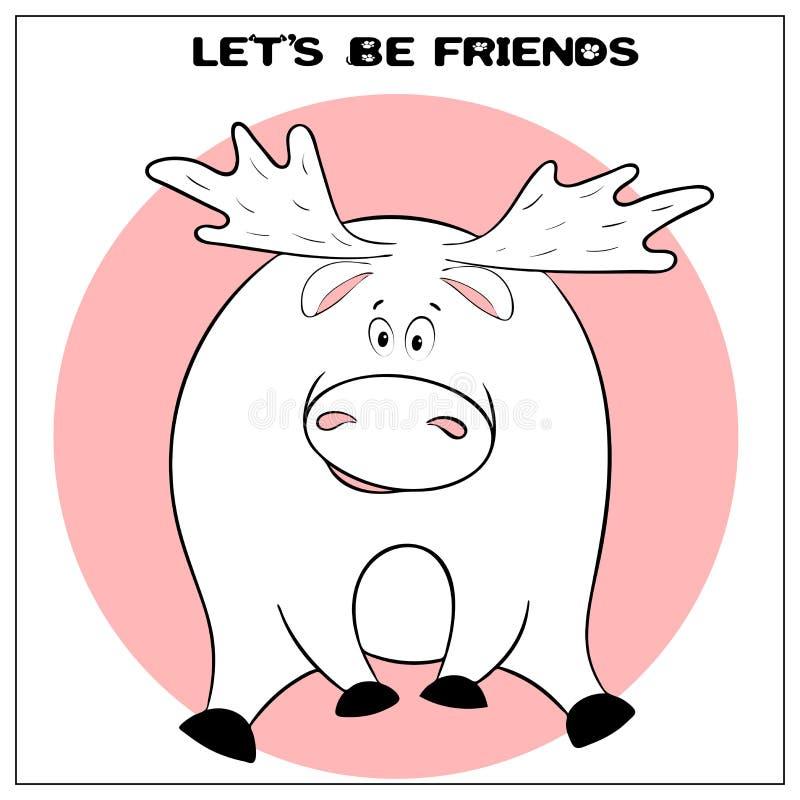 Śmieszna wektorowa kartka z pozdrowieniami z ślicznym grubym kreskówka łosiem, zwrotem i Poj?cie zabawa projekt dla odziewa? i wn ilustracji
