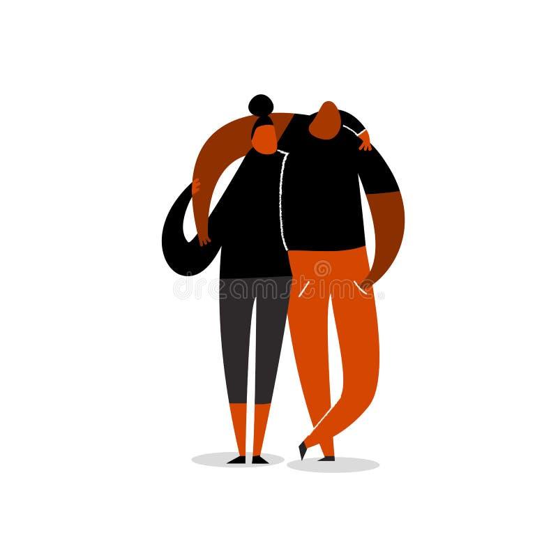 Śmieszna wektorowa płaska ilustracja przytulenie para Przyja??, mi?o?ci poj?cie pojedynczy bia?e t?o ilustracja wektor