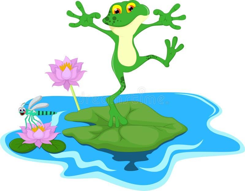 Śmieszna Zielonej żaby kreskówka na liściu ilustracja wektor