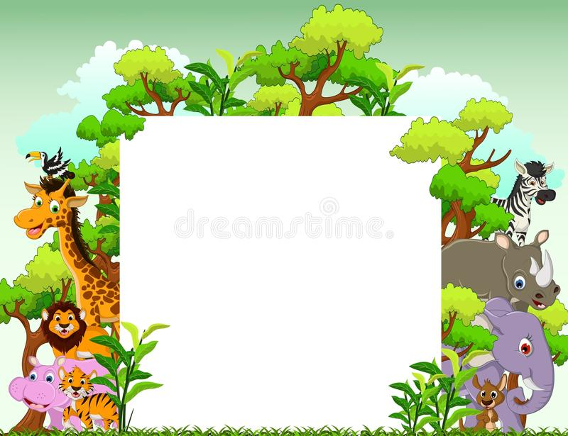 Śmieszna zwierzęca kreskówka z pustego miejsca szyldowym i tropikalnym lasowym tłem royalty ilustracja