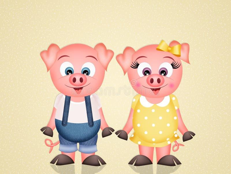 śmieszne świnie ilustracji
