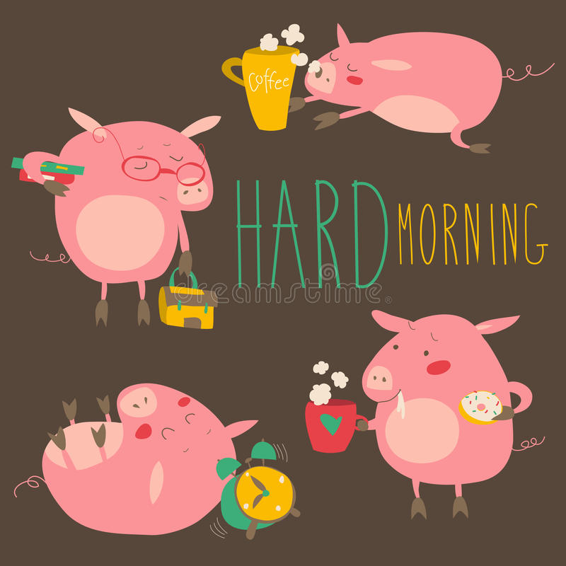 Śmieszne świnie o mocno budzić z kawowymi kubkami ilustracja wektor