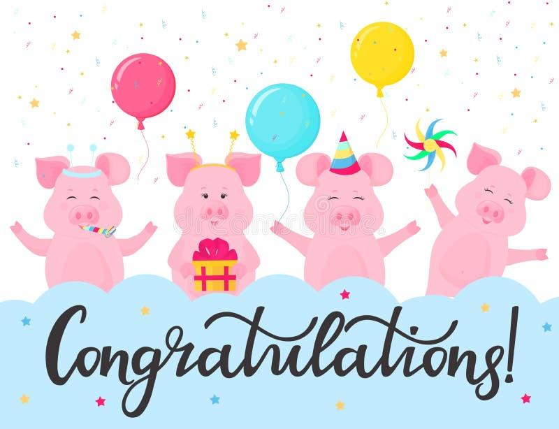 Śmieszne świnie przy przyjęciem Gratulacje ręki literowanie Kartka Z Pozdrowieniami projekt Prezenta pudełko, pasiasty kapelusz,  ilustracji