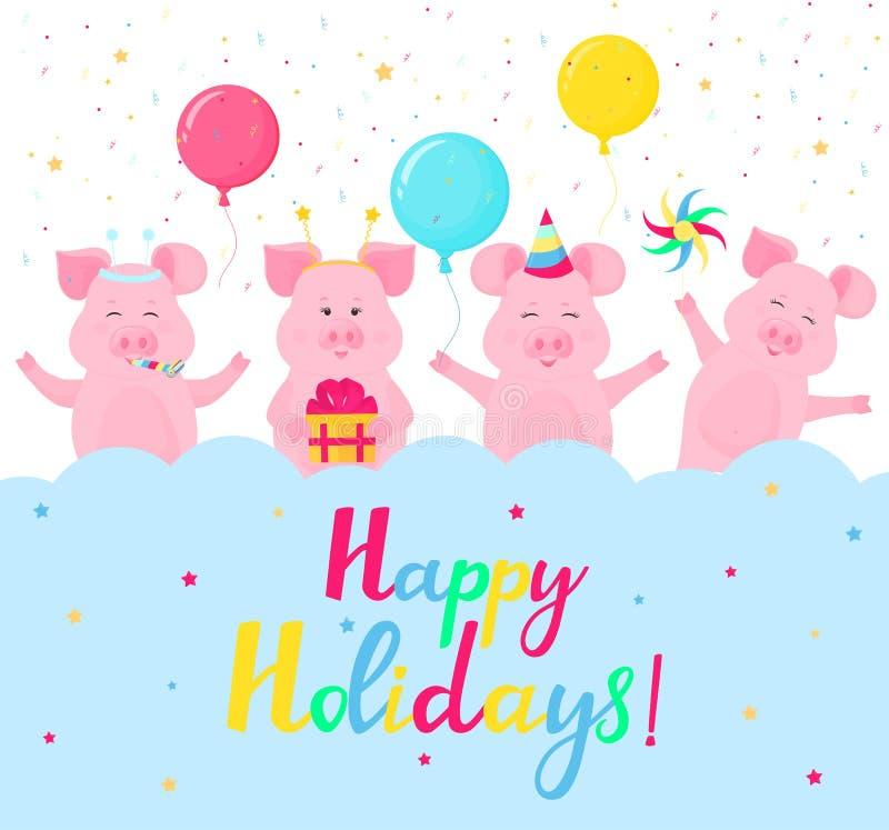 Śmieszne świnie przy przyjęciem Szczęśliwy wakacje ręki literowanie Kartka Z Pozdrowieniami projekt Prezenta pudełko, pasiasty ka royalty ilustracja