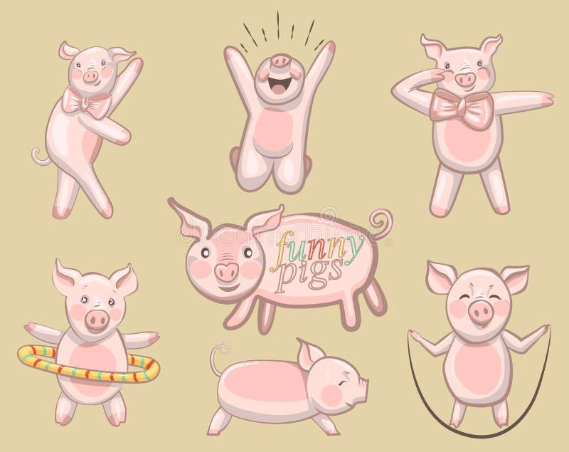 śmieszne świnie Set świnie angażować w sportach ilustracji