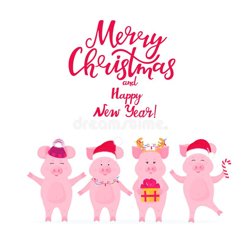 Śmieszne świnie w Santa kapeluszach z prezentem Prosiątko z jelenimi rogami szczęśliwego wesoło nowego roku karciani boże narodze royalty ilustracja