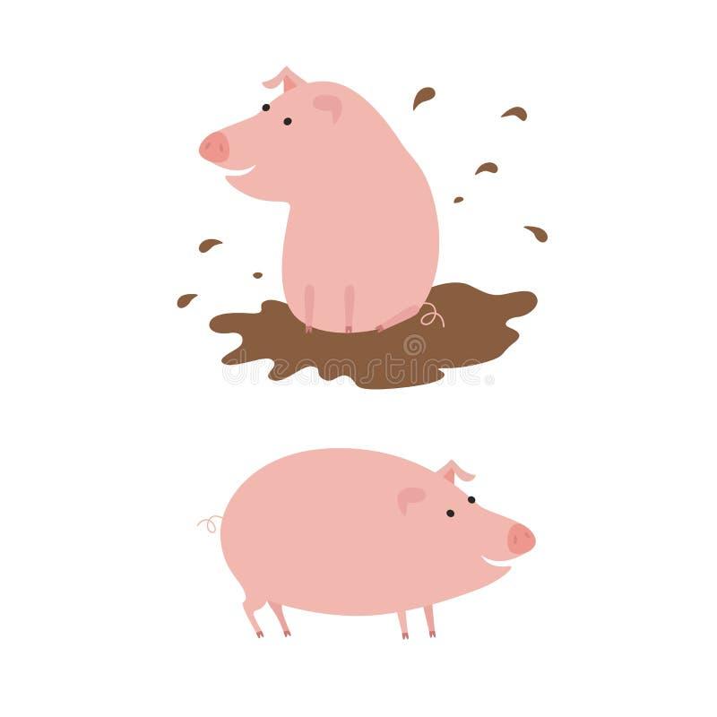 Śmieszne świnie wektorowe royalty ilustracja