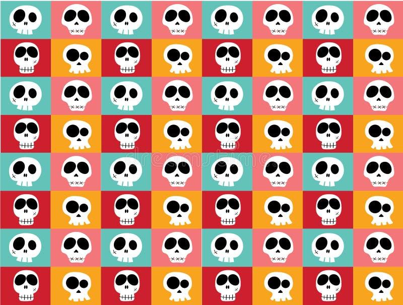 Śmieszne białe doodle czaszki w różnych charakterach na rocznika jaskrawym multicoloured tle, deseniowy bezszwowy tło royalty ilustracja