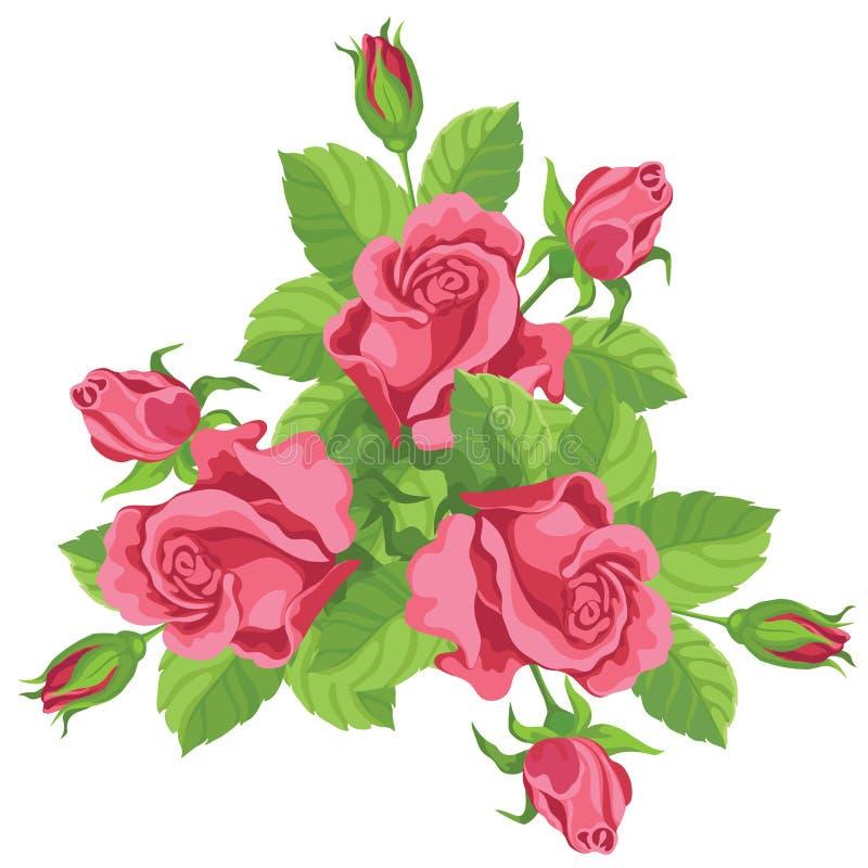 śmieszne bukiet róże ilustracja wektor