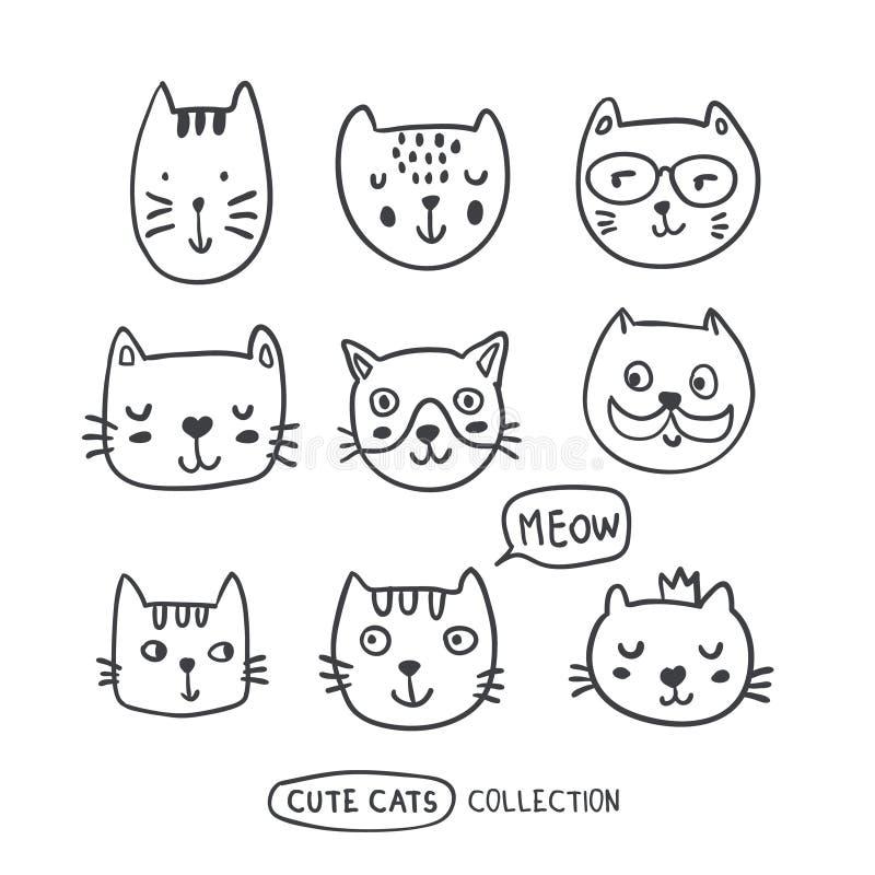 Śmieszne doodle konturu kotów twarze inkasowe ilustracji