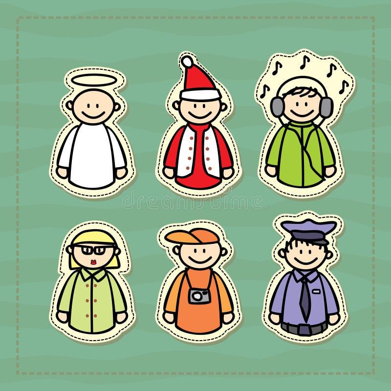 śmieszne ikony policjant, DJ, nauczyciel, fotograf, anioł i Santa, troszkę ilustracja wektor