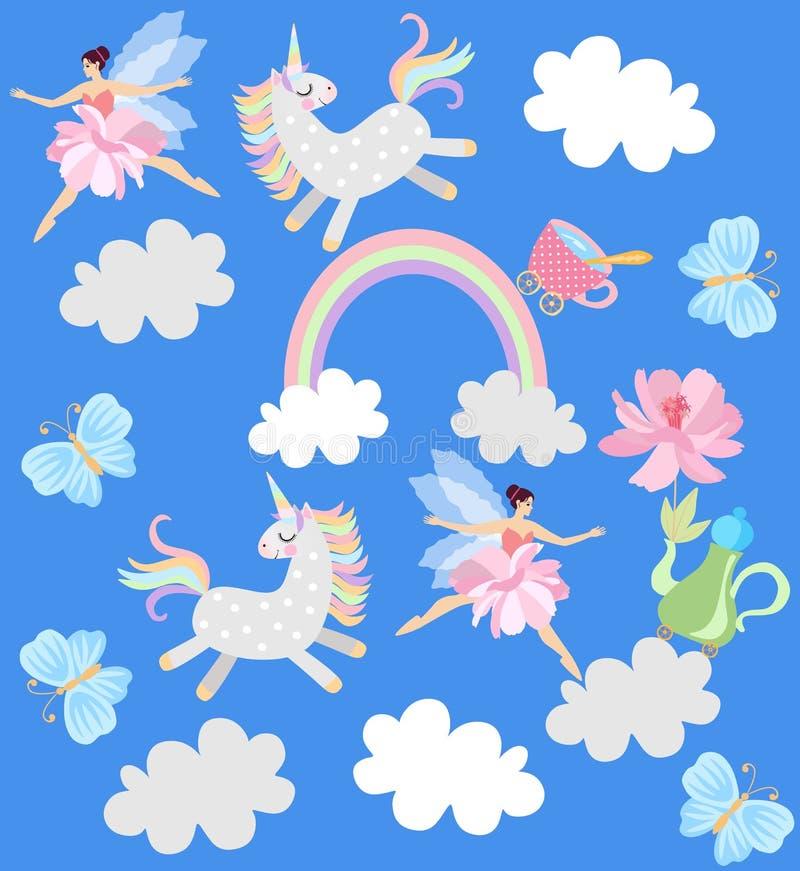 Śmieszne jednorożec, oskrzydlone czarodziejki, teapot z kwiatami, filiżanka herbata, tęcza, chmury i motyle na nieba błękita tle  ilustracja wektor