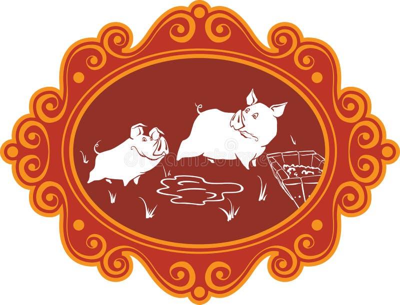 Śmieszne kreskówek świnie, prosiaczki na gospodarstwie rolnym ma zabawę, bawić się i f i, ilustracji