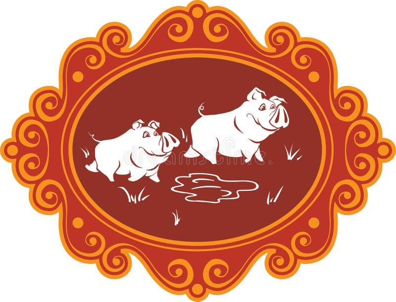 Śmieszne kreskówek świnie, prosiaczki na gospodarstwie rolnym ma zabawę, bawić się i f i, royalty ilustracja